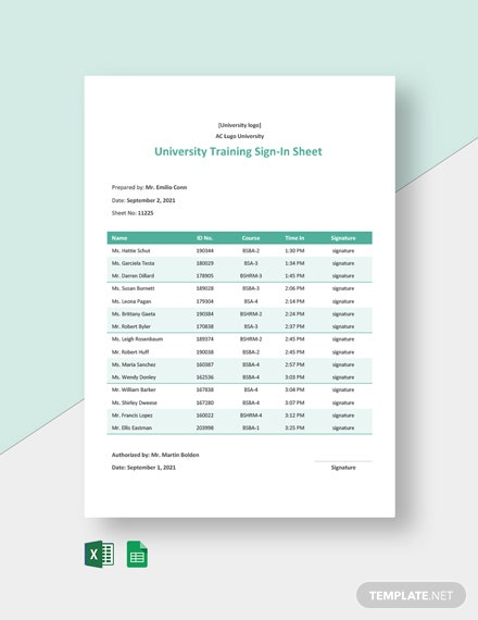 University Training Sign In Sheet Template