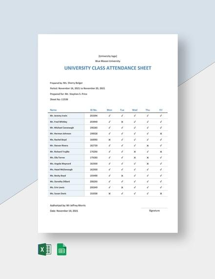 University Class Attendance Sheet Template