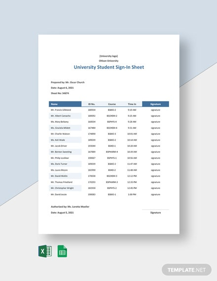 University Student Sign In Sheet Template