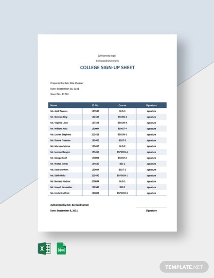 College Sign Up Sheet Template