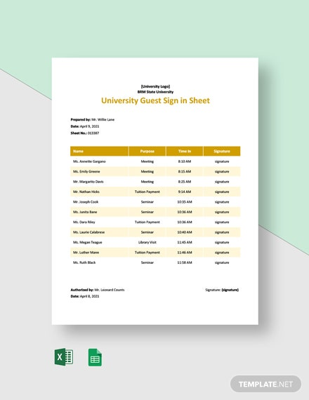 University Guest Sign in Sheet Template