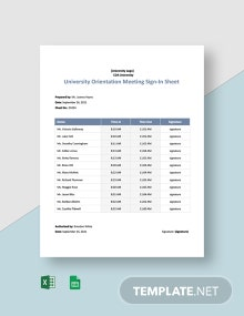University Orientation Meeting Sign In Sheet Template