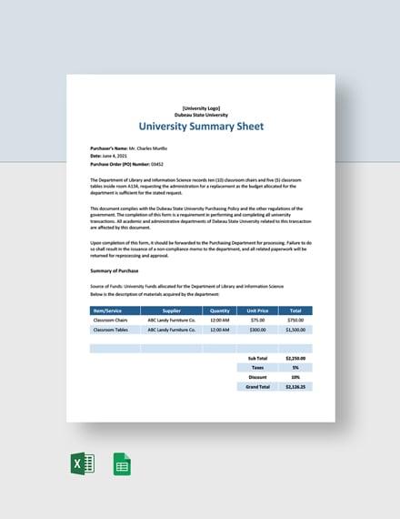 University Summary Sheet