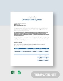 University Summary Sheet Template