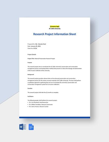 University Project Information Sheet Template
