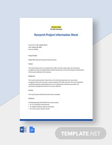 University Project Information Sheet Template