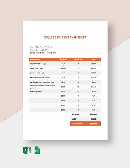 University Expenses Spreadsheet Template