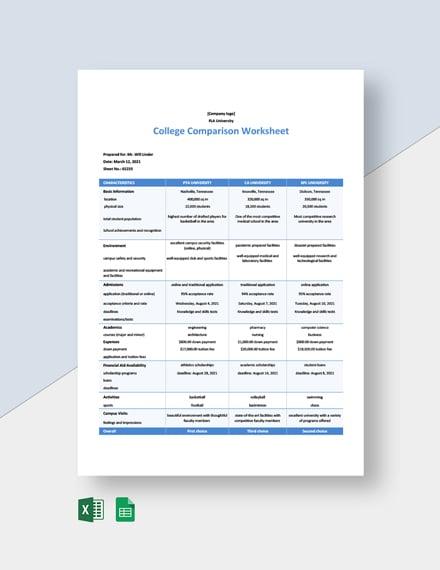 College Comparison Worksheet Template Excel Google Sheets