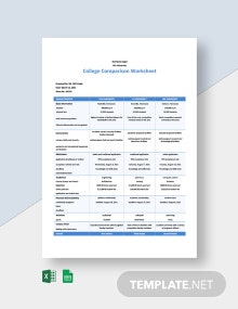 College Comparison Worksheet Template