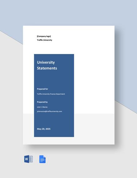 Free Sample University Statement Template