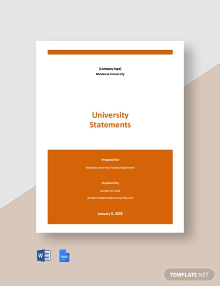 Free Simple University Statement Template