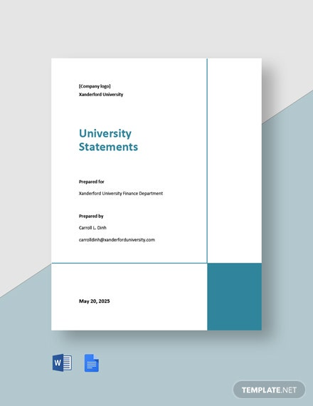 Free Basic University Statement Template