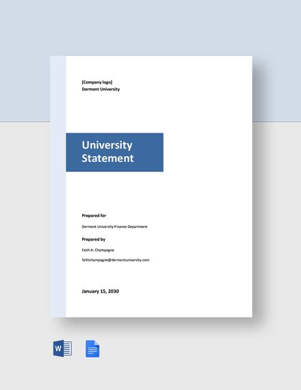 Free Blank University Statement Template