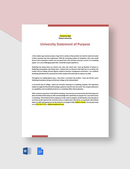 University Statement of Purpose Template
