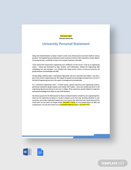 University Personal Statement Template