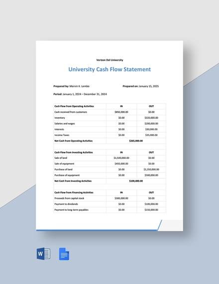University Cash Flow Statement Template