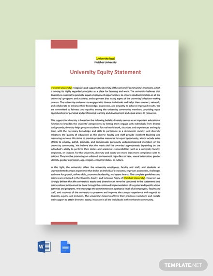 University Equity Statement Template
