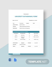 University Withdrawal Form Template