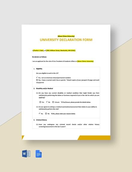 University Declaration Form Template