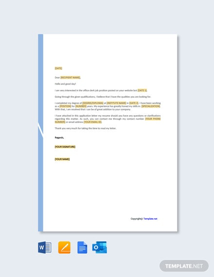 Free Clerk Job Application Letter Template
