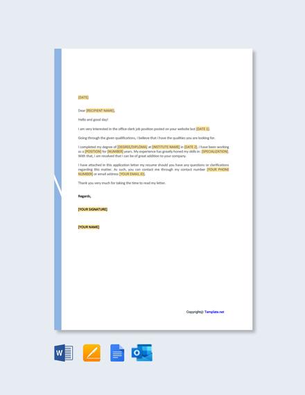 Free Clerk Job Application Letter Template