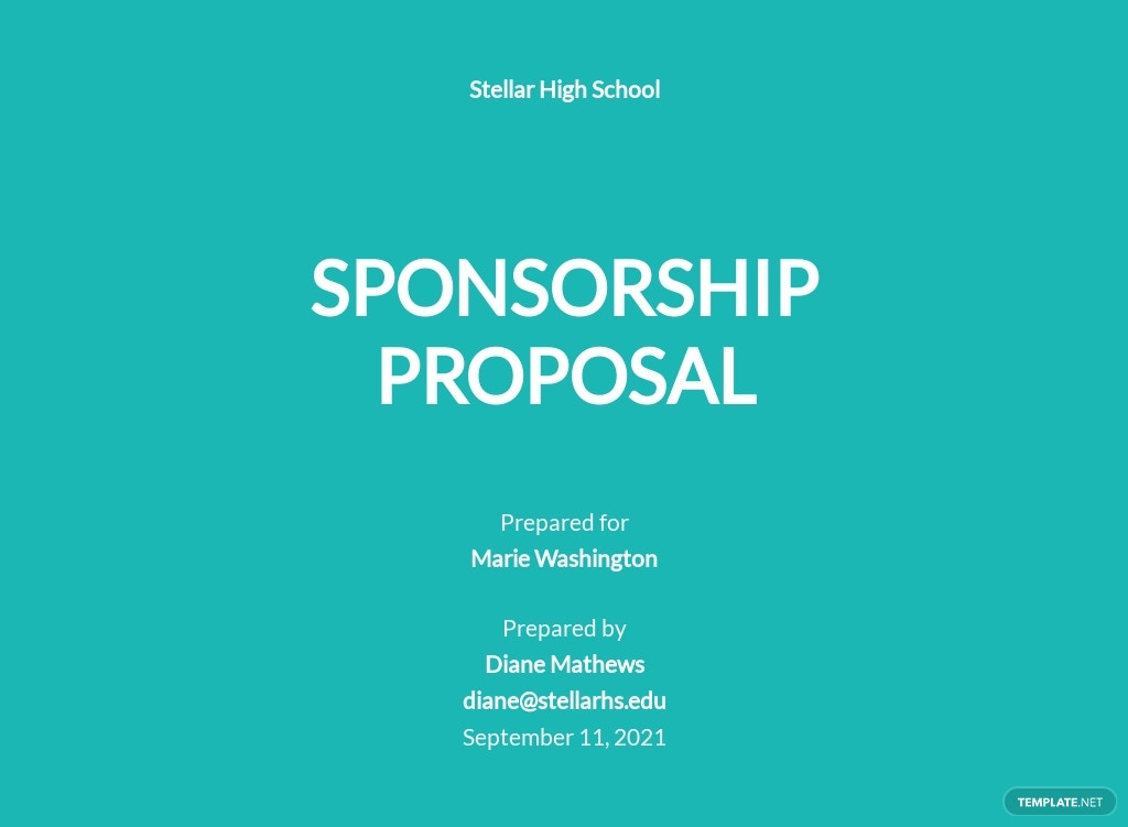 School Sponsorship Proposal Template