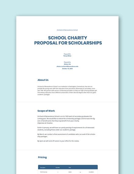 School Charity Proposal Template