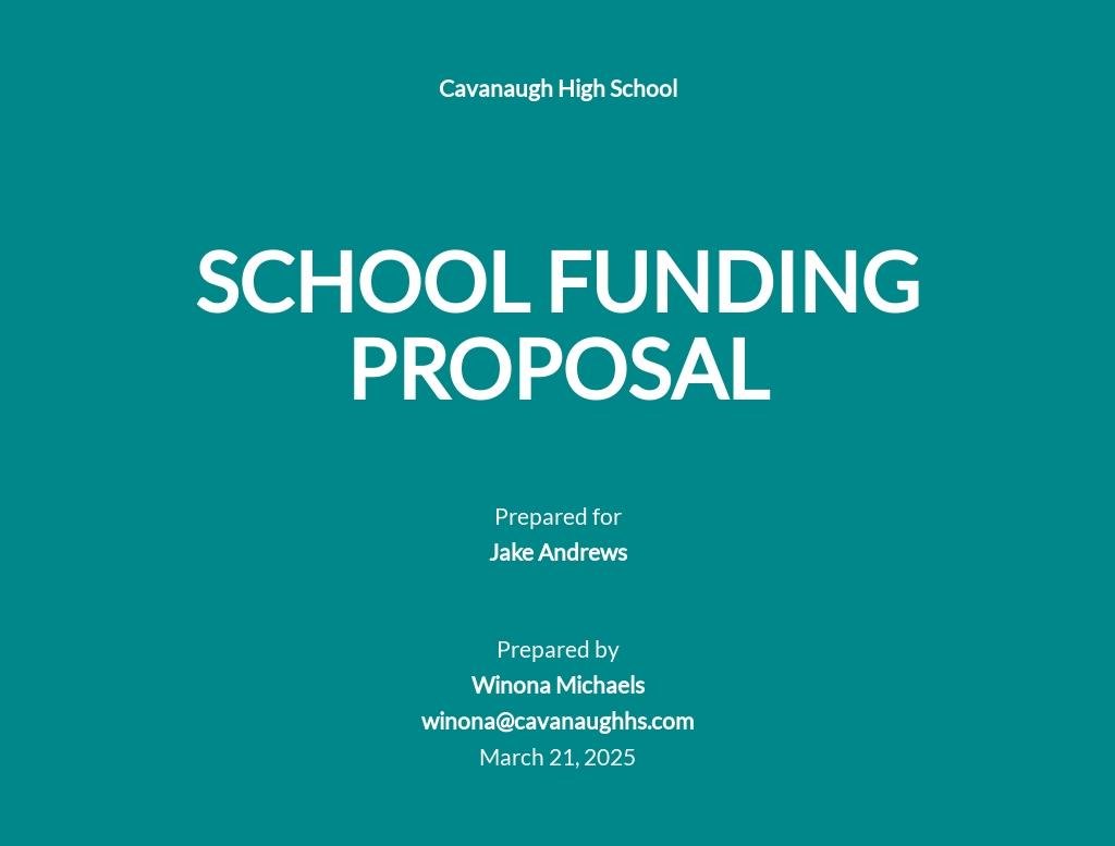 School Funding Proposal Template