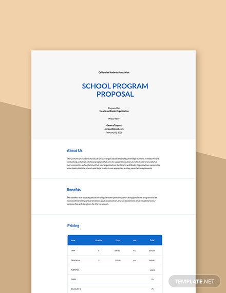 School Program Proposal Template