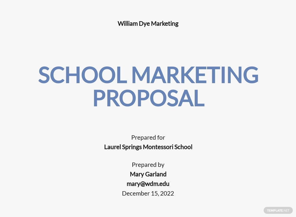 School Marketing Proposal Template