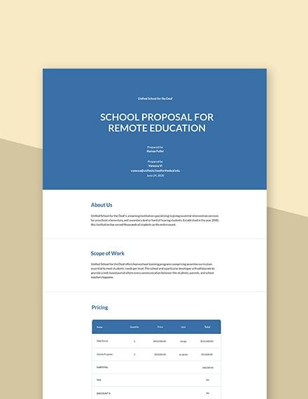 Free Basic School Proposal Template