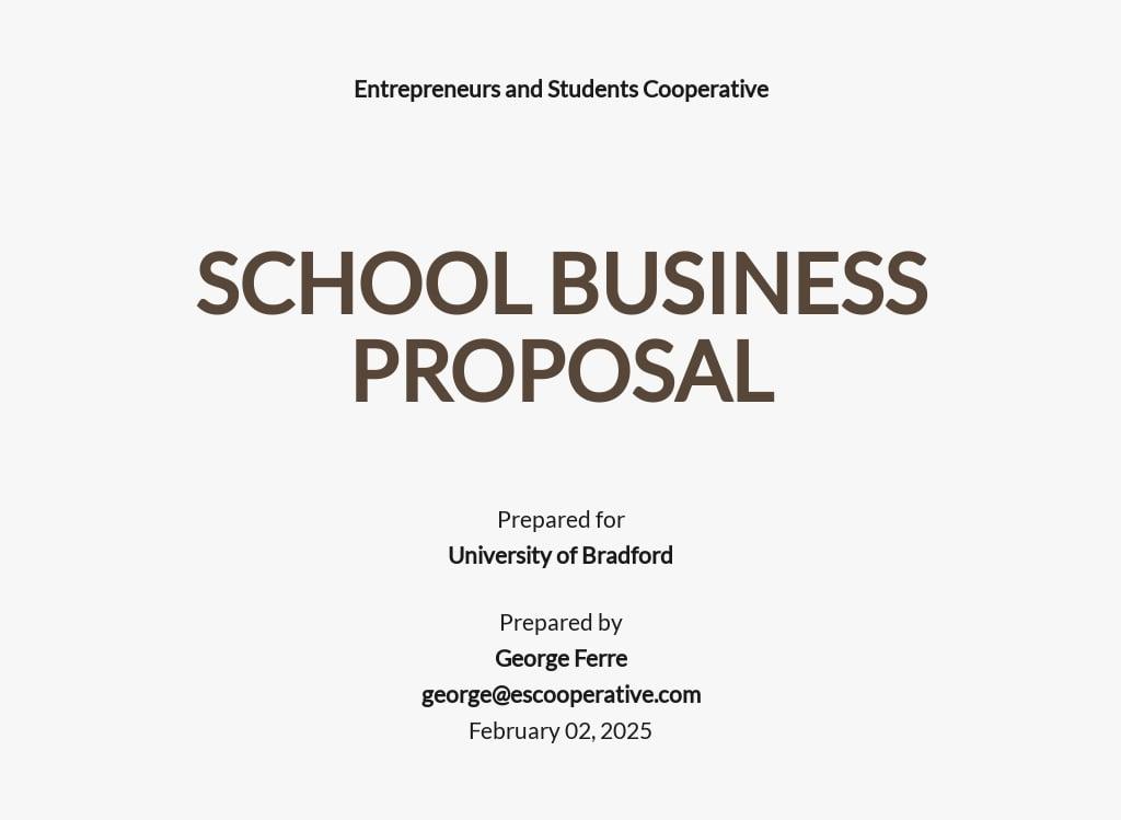 Simple School Business Proposal Template