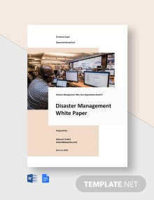 Disaster Management White Paper Template