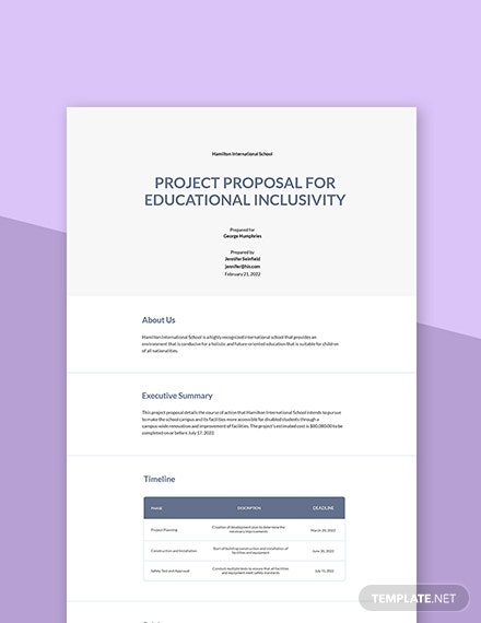 Free Sample School Project Proposal Template
