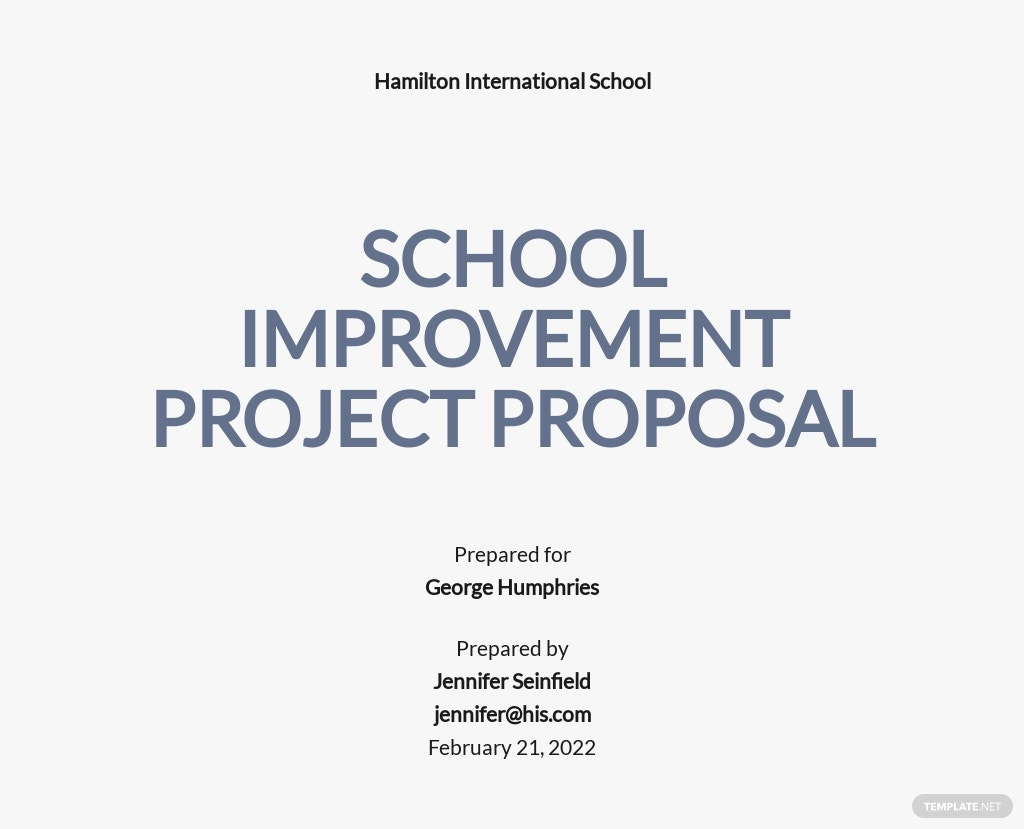 Sample School Project Proposal Template