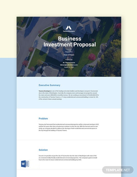 Investment Business Proposal Template