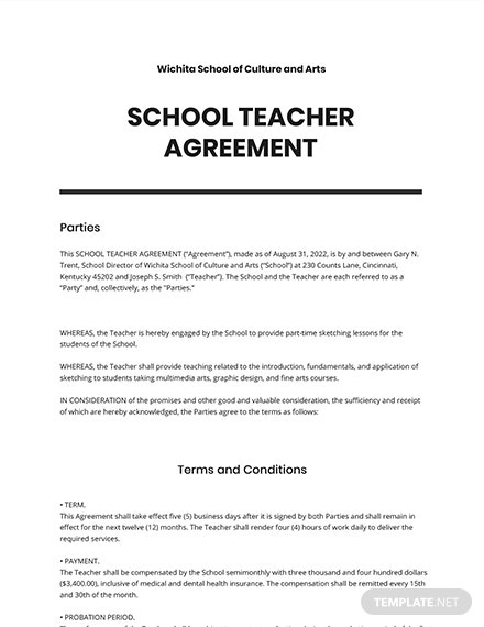 School Teacher Agreement Template
