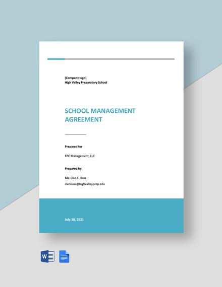School Management Agreement Template