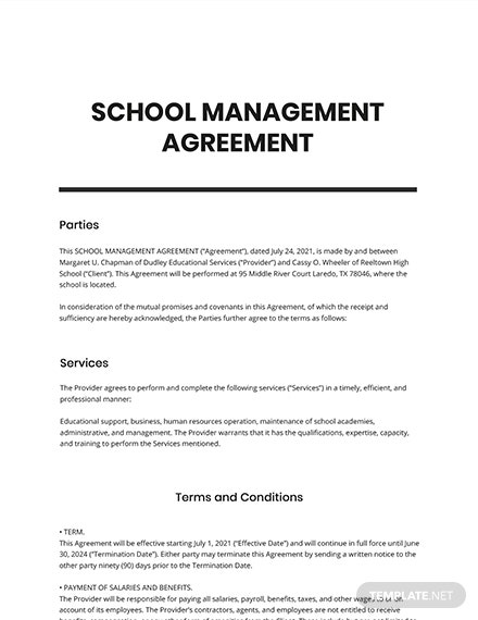 School Management Agreement Template