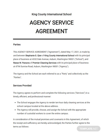School Agency Agreement Template