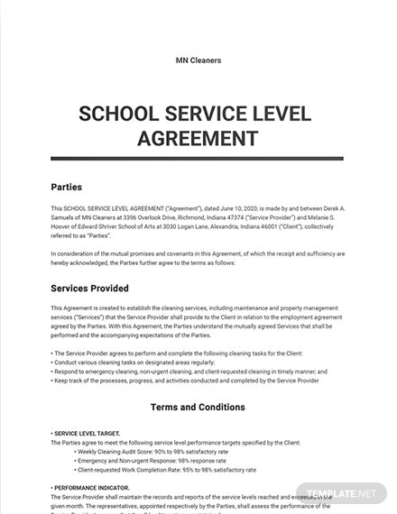 School Service Level Agreement Template