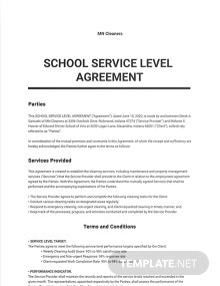 School Service Level Agreement Template