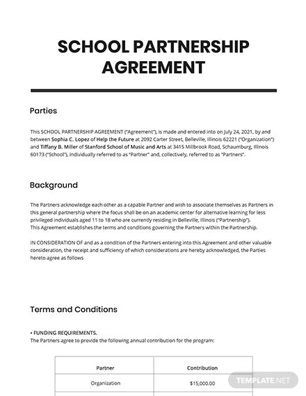 School Partnership Agreement Template
