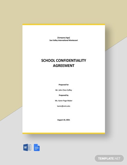 School Confidentiality Agreement Template