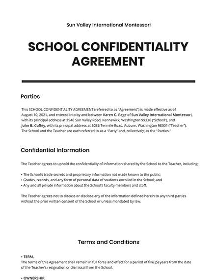 School Confidentiality Agreement