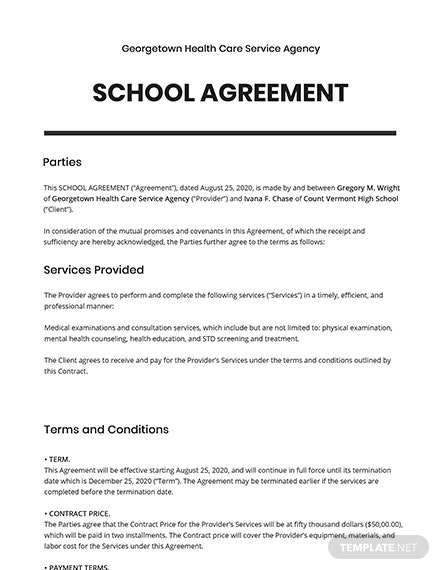 One Page School Agreement Template