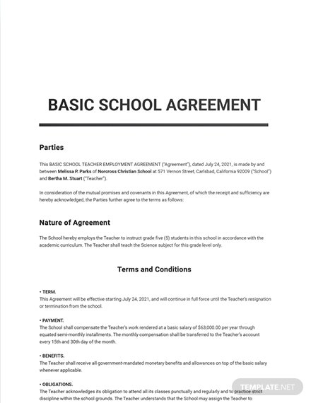 Free Basic School Agreement Template