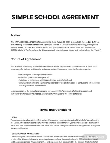 Free Simple School Agreement Template