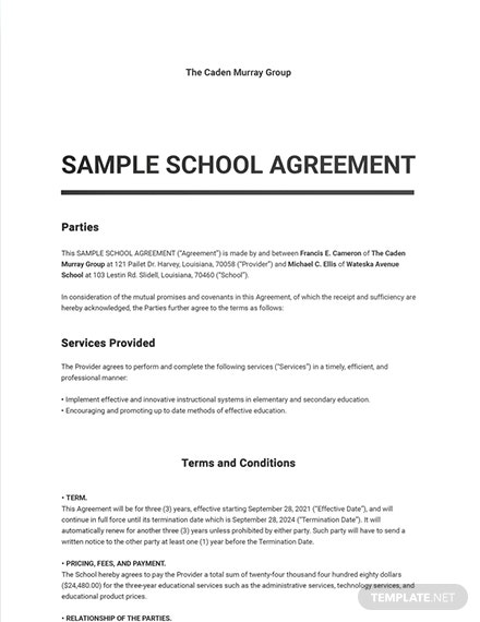 Free Sample School Agreement Template
