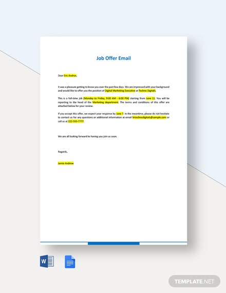 Editable Job Offer Email Template
